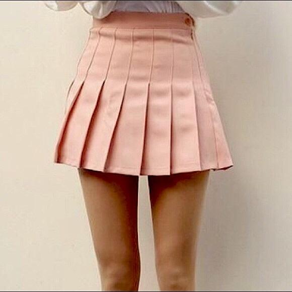 Mauve-Pink Pleated Miniskirt